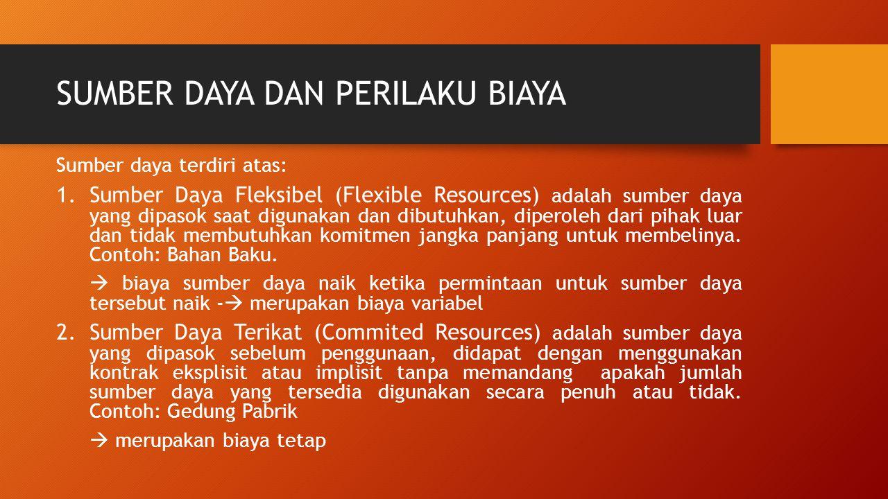 SUMBER DAYA DAN PERILAKU BIAYA Sumber daya terdiri atas: 1.Sumber Daya Fleksibel (Flexible Resources) adalah sumber daya yang dipasok saat digunakan d