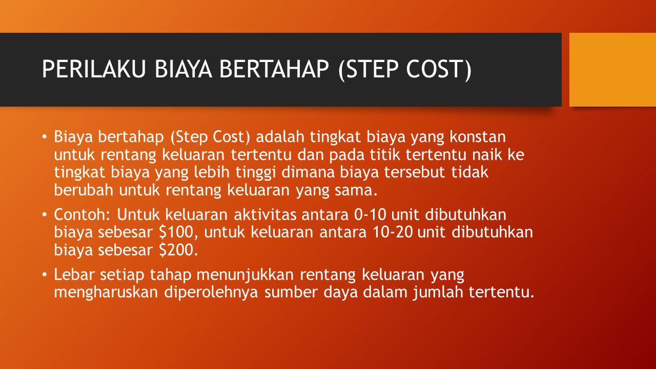 PERILAKU BIAYA BERTAHAP (STEP COST) Biaya bertahap (Step Cost) adalah tingkat biaya yang konstan untuk rentang keluaran tertentu dan pada titik terten