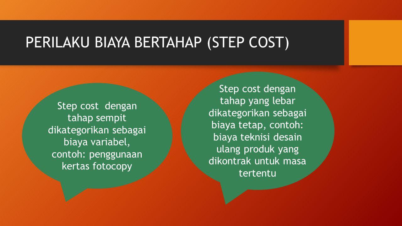 PERILAKU BIAYA BERTAHAP (STEP COST) Step cost dengan tahap sempit dikategorikan sebagai biaya variabel, contoh: penggunaan kertas fotocopy Step cost d