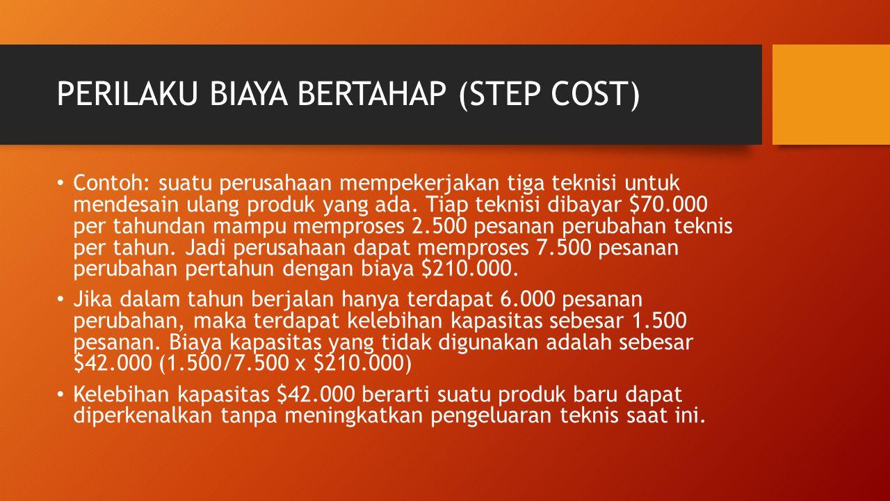 PERILAKU BIAYA BERTAHAP (STEP COST) Contoh: suatu perusahaan mempekerjakan tiga teknisi untuk mendesain ulang produk yang ada. Tiap teknisi dibayar $7