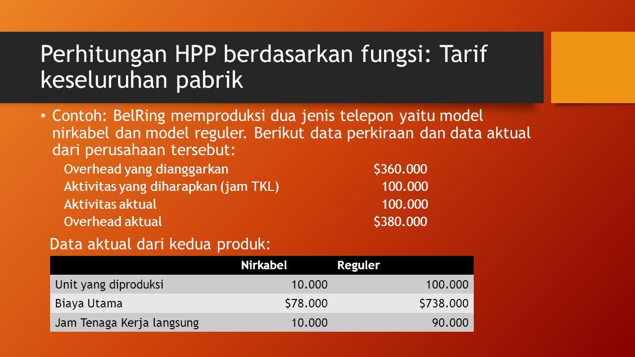 Perhitungan HPP berdasarkan fungsi: Tarif keseluruhan pabrik Contoh: BelRing memproduksi dua jenis telepon yaitu model nirkabel dan model reguler. Ber