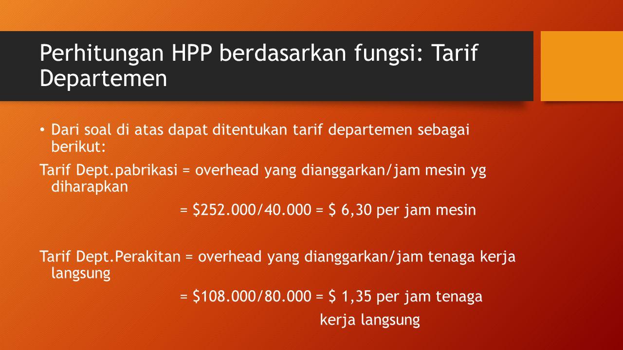Perhitungan HPP berdasarkan fungsi: Tarif Departemen Dari soal di atas dapat ditentukan tarif departemen sebagai berikut: Tarif Dept.pabrikasi = overh