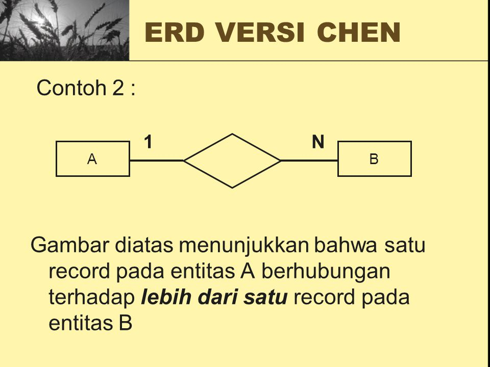 ERD VERSI CHEN Contoh 2 : Gambar diatas menunjukkan bahwa satu record pada entitas A berhubungan terhadap lebih dari satu record pada entitas B AB 1N