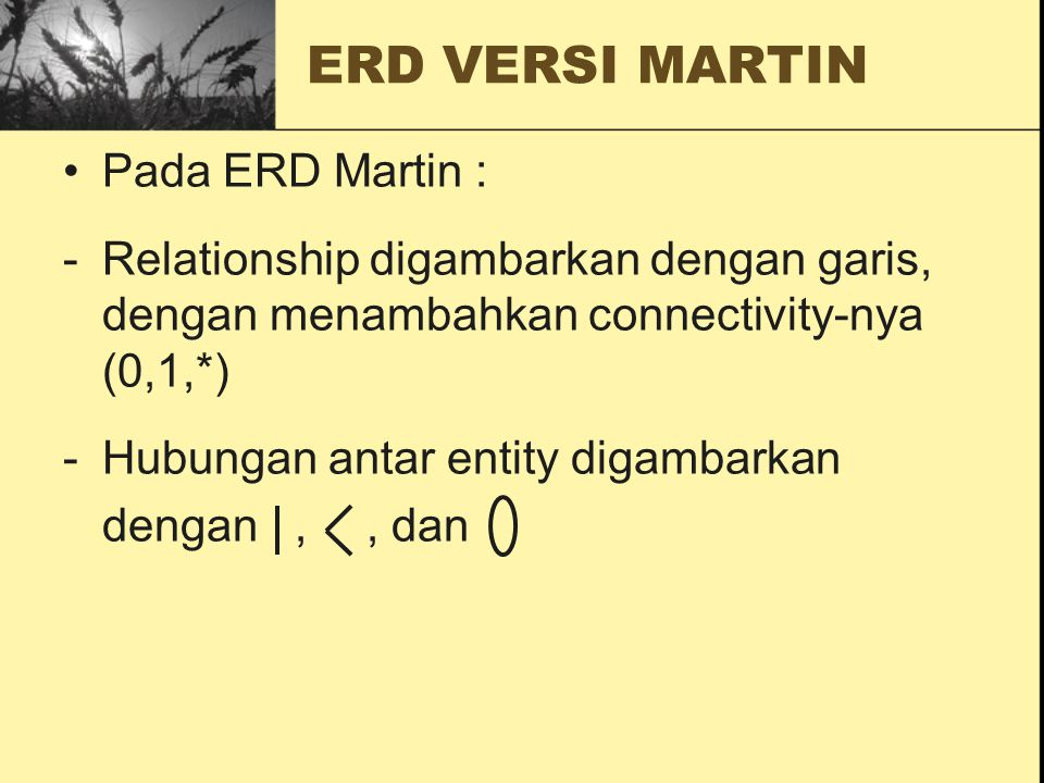ERD VERSI MARTIN Pada ERD Martin : -Relationship digambarkan dengan garis, dengan menambahkan connectivity-nya (0,1,*) -Hubungan antar entity digambar