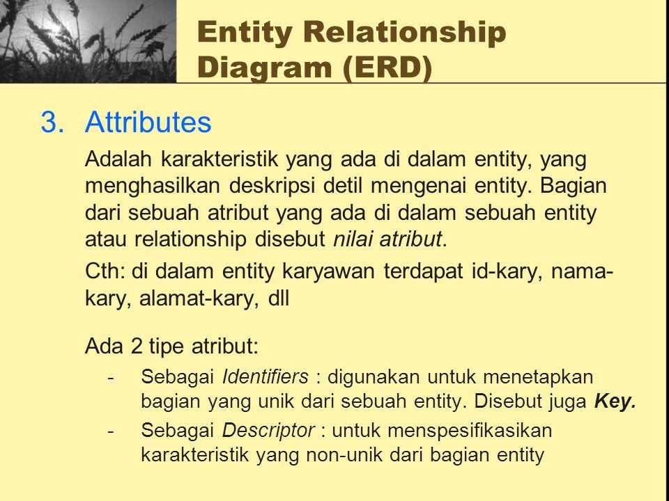 Entity Relationship Diagram (ERD) 3.Attributes Adalah karakteristik yang ada di dalam entity, yang menghasilkan deskripsi detil mengenai entity. Bagia