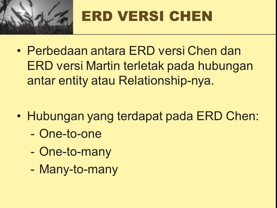 Perbedaan antara ERD versi Chen dan ERD versi Martin terletak pada hubungan antar entity atau Relationship-nya. Hubungan yang terdapat pada ERD Chen: