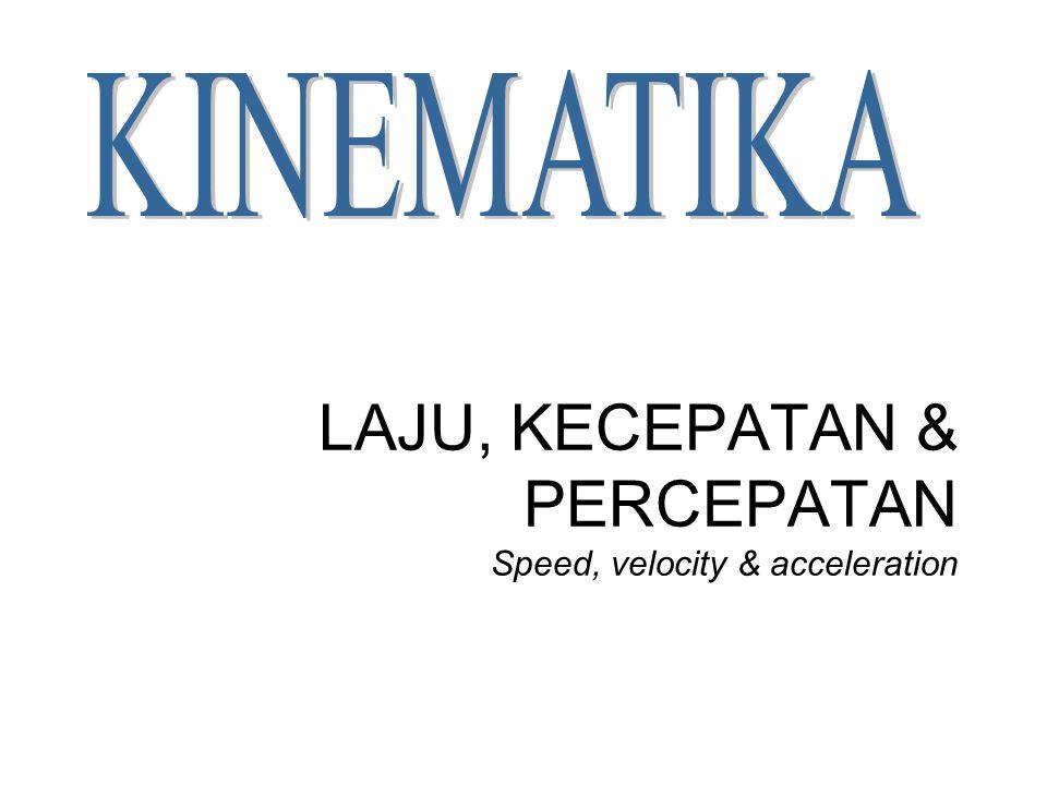 LAJU, KECEPATAN & PERCEPATAN Speed, velocity & acceleration
