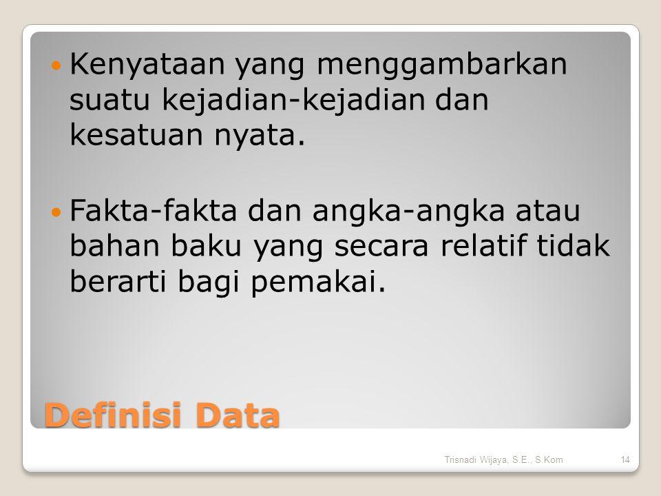 Definisi Data Kenyataan yang menggambarkan suatu kejadian-kejadian dan kesatuan nyata. Fakta-fakta dan angka-angka atau bahan baku yang secara relatif