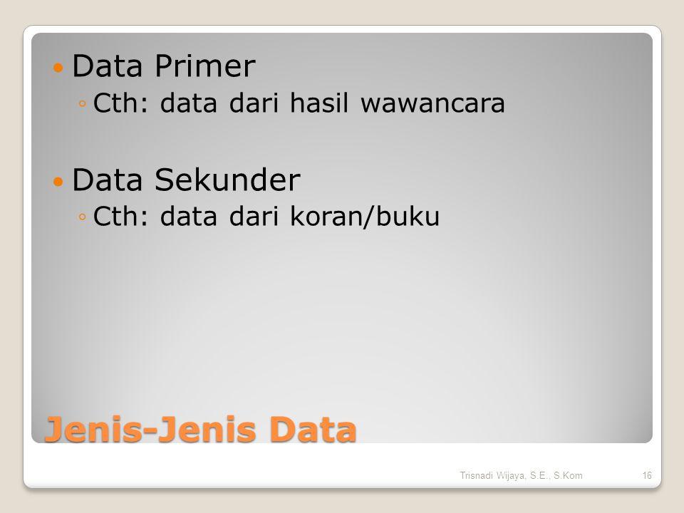 Jenis-Jenis Data Data Primer ◦Cth: data dari hasil wawancara Data Sekunder ◦Cth: data dari koran/buku 16Trisnadi Wijaya, S.E., S.Kom