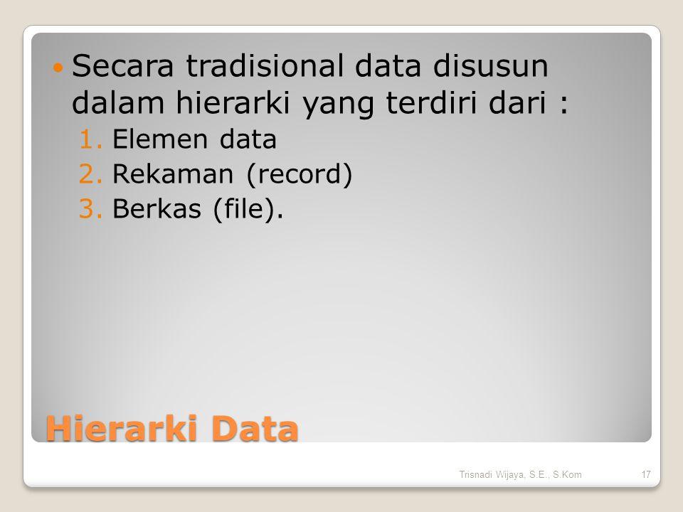 Hierarki Data Secara tradisional data disusun dalam hierarki yang terdiri dari : 1.Elemen data 2.Rekaman (record) 3.Berkas (file). 17Trisnadi Wijaya,