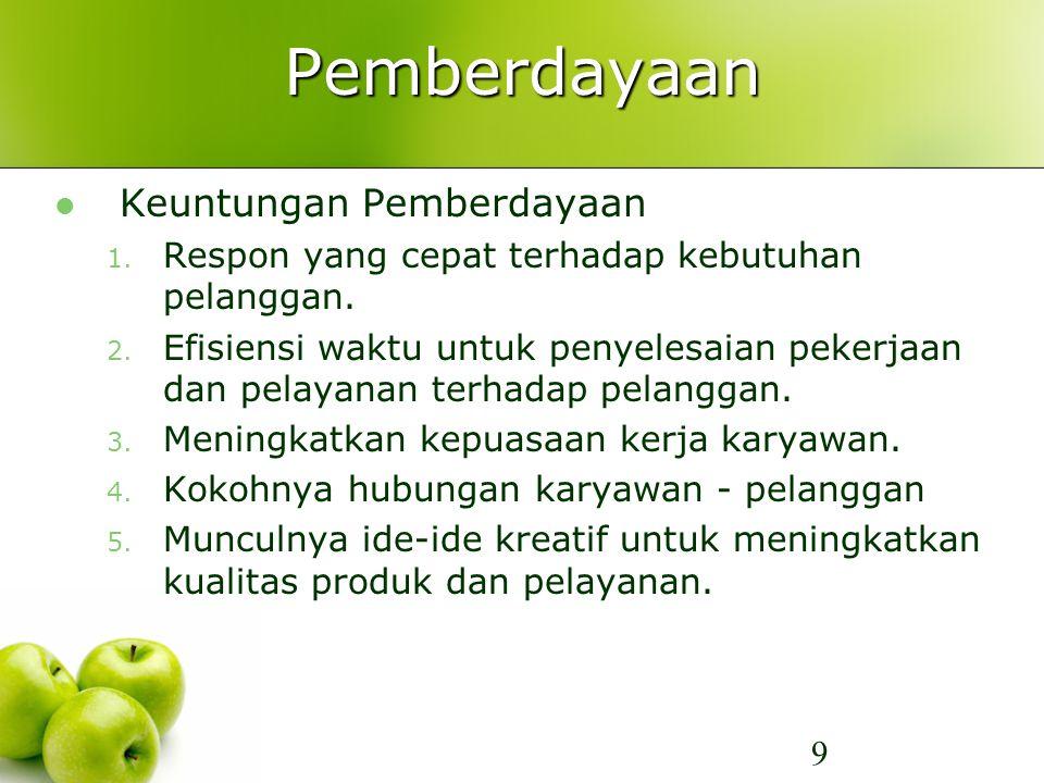 Pemberdayaan Keuntungan Pemberdayaan 1. Respon yang cepat terhadap kebutuhan pelanggan. 2. Efisiensi waktu untuk penyelesaian pekerjaan dan pelayanan