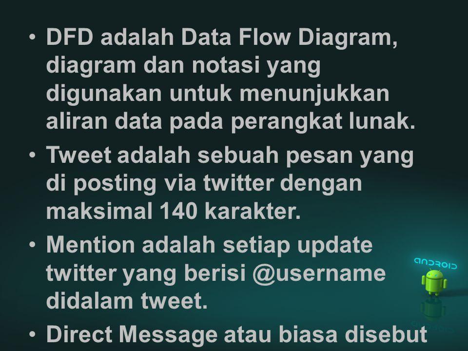 DFD adalah Data Flow Diagram, diagram dan notasi yang digunakan untuk menunjukkan aliran data pada perangkat lunak. Tweet adalah sebuah pesan yang di