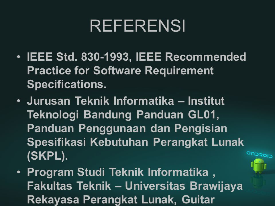 OVERVIEW Dokumen SRS ini dibagi menjadi tiga bagian utama, yaitu : Bagian pertama berisi penjelasan tentang dokumen SRS yang mencakup tujuan pembuatan dokumen ini, lingkup masalah yang diselesaikan oleh perangkat lunak yang dikembangkan, definisi, referensi dan deskripsi umum.