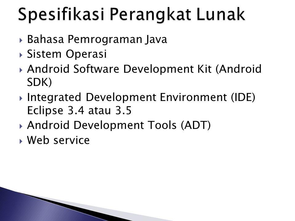  Bahasa Pemrograman Java  Sistem Operasi  Android Software Development Kit (Android SDK)  Integrated Development Environment (IDE) Eclipse 3.4 ata