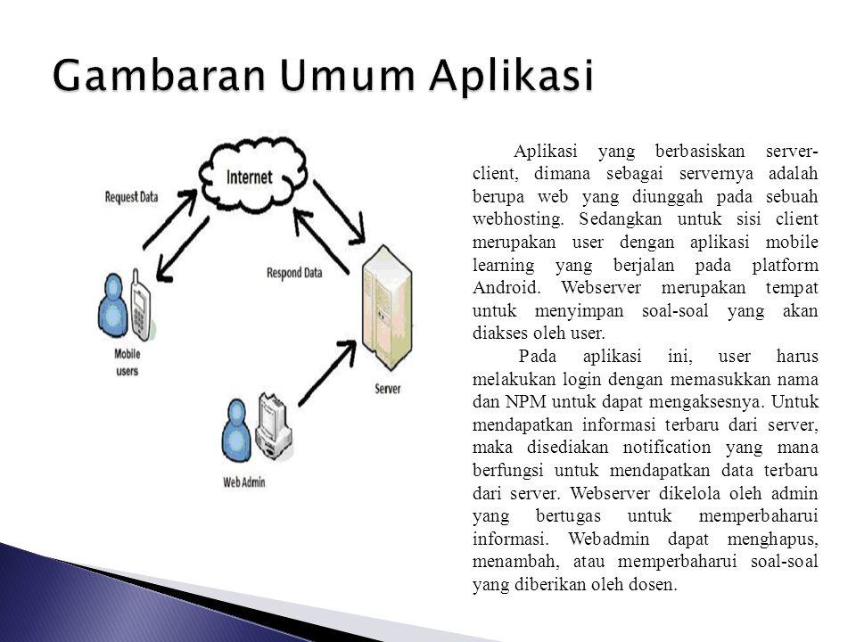 Aplikasi yang berbasiskan server- client, dimana sebagai servernya adalah berupa web yang diunggah pada sebuah webhosting. Sedangkan untuk sisi client