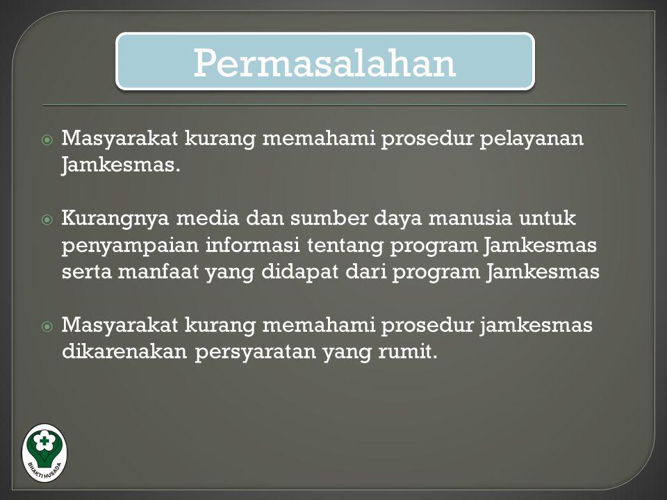  Masyarakat kurang memahami prosedur pelayanan Jamkesmas.  Kurangnya media dan sumber daya manusia untuk penyampaian informasi tentang program Jamke