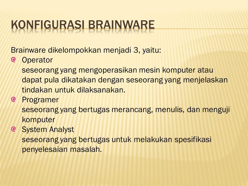 Brainware dikelompokkan menjadi 3, yaitu: Operator seseorang yang mengoperasikan mesin komputer atau dapat pula dikatakan dengan seseorang yang menjel