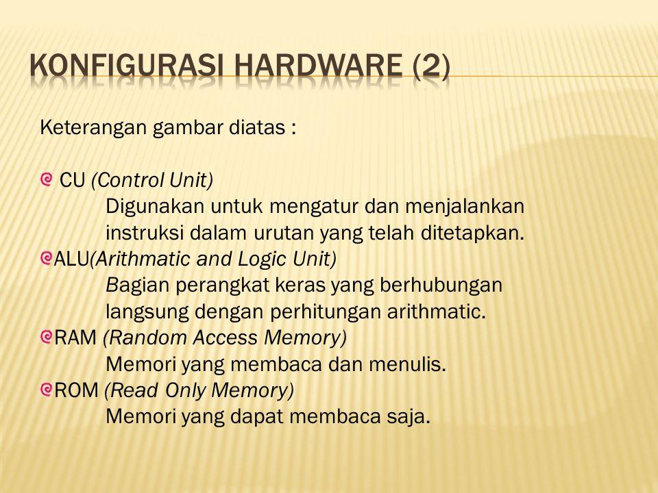 Keterangan gambar diatas : CU (Control Unit) Digunakan untuk mengatur dan menjalankan instruksi dalam urutan yang telah ditetapkan. ALU(Arithmatic and