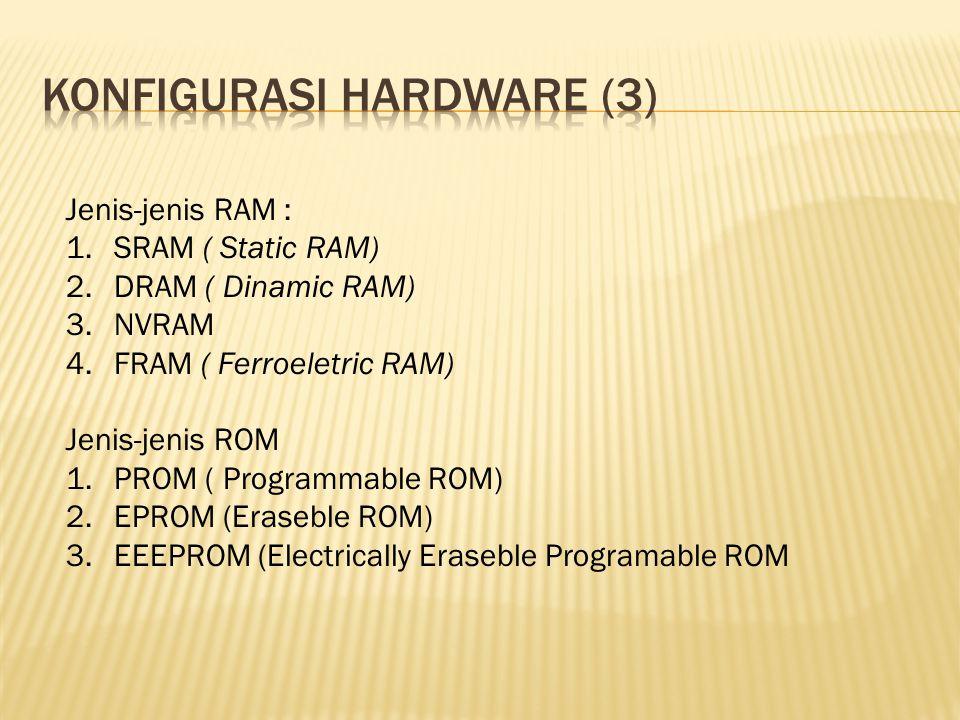 Jenis-jenis RAM : 1.SRAM ( Static RAM) 2.DRAM ( Dinamic RAM) 3.NVRAM 4.FRAM ( Ferroeletric RAM) Jenis-jenis ROM 1.PROM ( Programmable ROM) 2.EPROM (Er