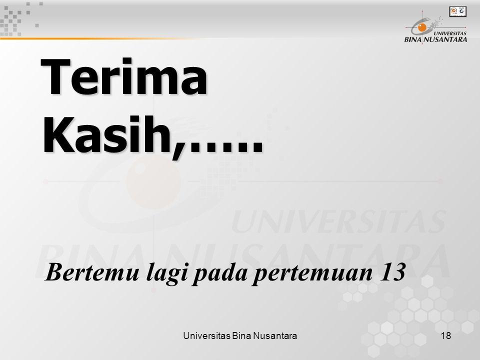 Universitas Bina Nusantara18 Terima Kasih,….. Bertemu lagi pada pertemuan 13