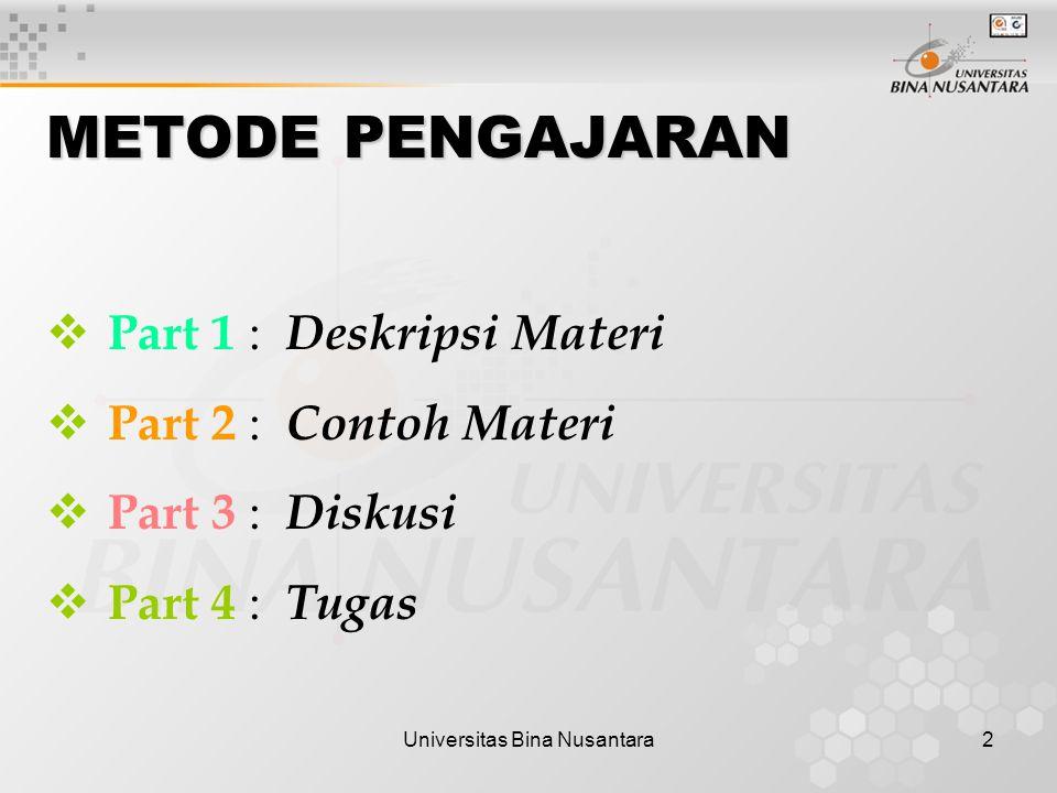 Universitas Bina Nusantara2 METODE PENGAJARAN  Part 1 : Deskripsi Materi  Part 2 : Contoh Materi  Part 3 : Diskusi  Part 4 : Tugas