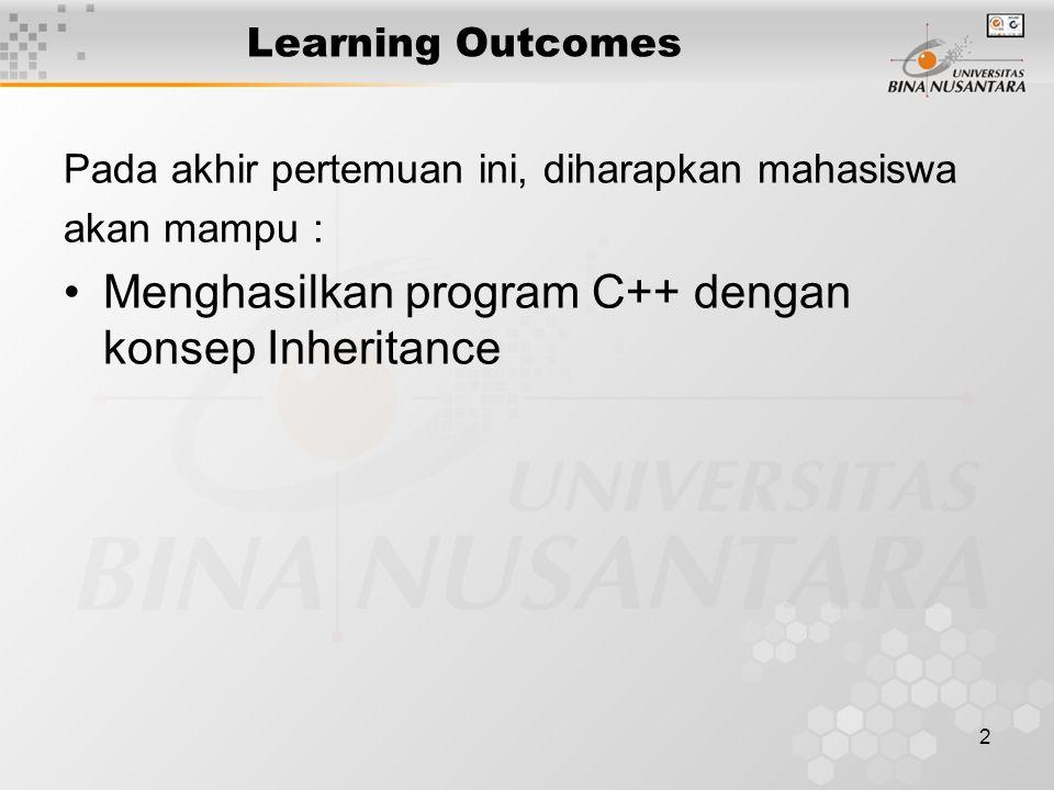 2 Learning Outcomes Pada akhir pertemuan ini, diharapkan mahasiswa akan mampu : Menghasilkan program C++ dengan konsep Inheritance