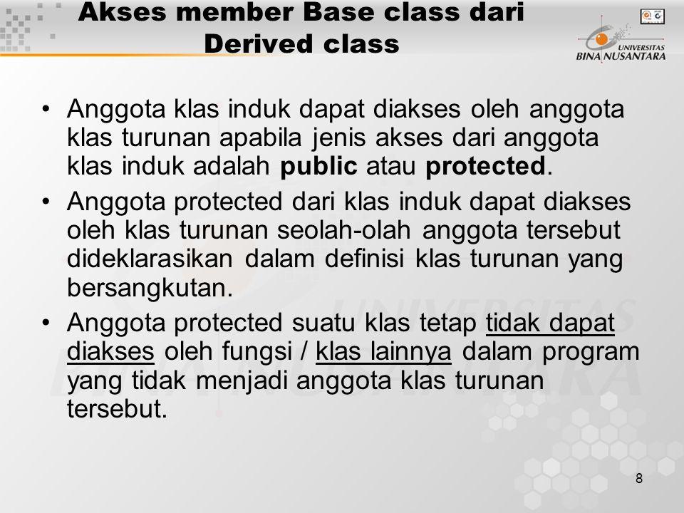 8 Akses member Base class dari Derived class Anggota klas induk dapat diakses oleh anggota klas turunan apabila jenis akses dari anggota klas induk adalah public atau protected.