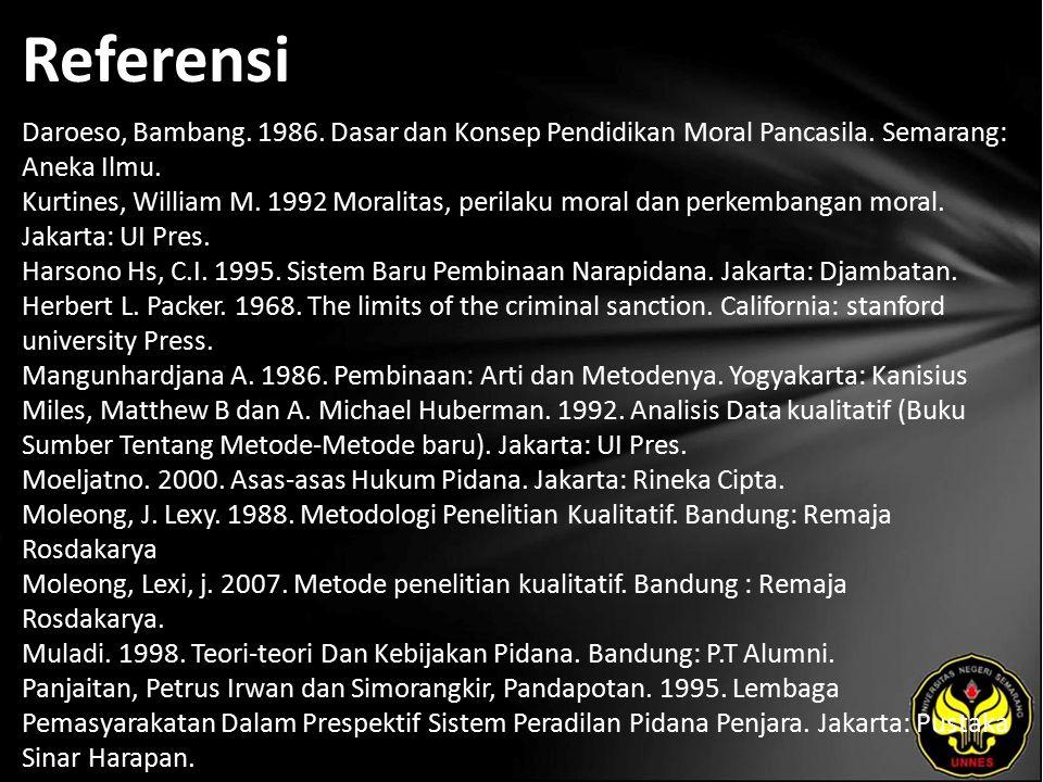 Referensi Daroeso, Bambang. 1986. Dasar dan Konsep Pendidikan Moral Pancasila.