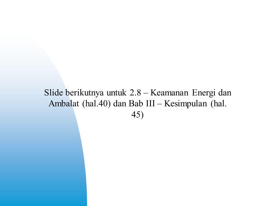 Slide berikutnya untuk 2.8 – Keamanan Energi dan Ambalat (hal.40) dan Bab III – Kesimpulan (hal. 45)