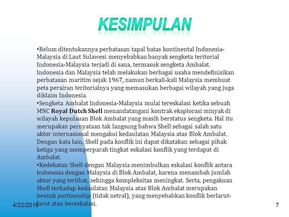 4/22/20157 Belum ditentukannya perbatasan tapal batas kontinental Indonesia- Malaysia di Laut Sulawesi menyebabkan banyak sengketa teritorial Indonesi