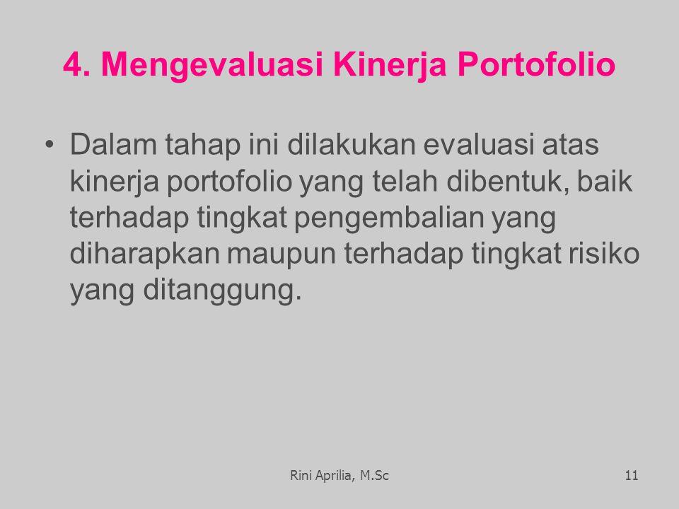 4. Mengevaluasi Kinerja Portofolio Dalam tahap ini dilakukan evaluasi atas kinerja portofolio yang telah dibentuk, baik terhadap tingkat pengembalian