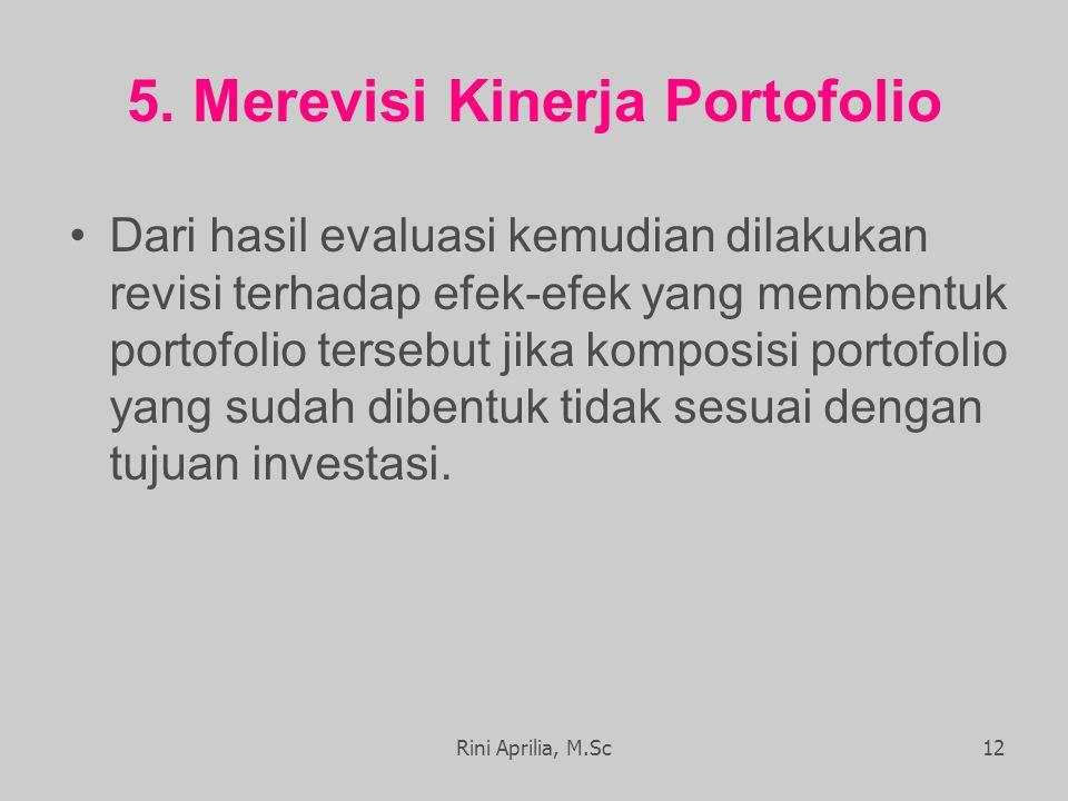 5. Merevisi Kinerja Portofolio Dari hasil evaluasi kemudian dilakukan revisi terhadap efek-efek yang membentuk portofolio tersebut jika komposisi port