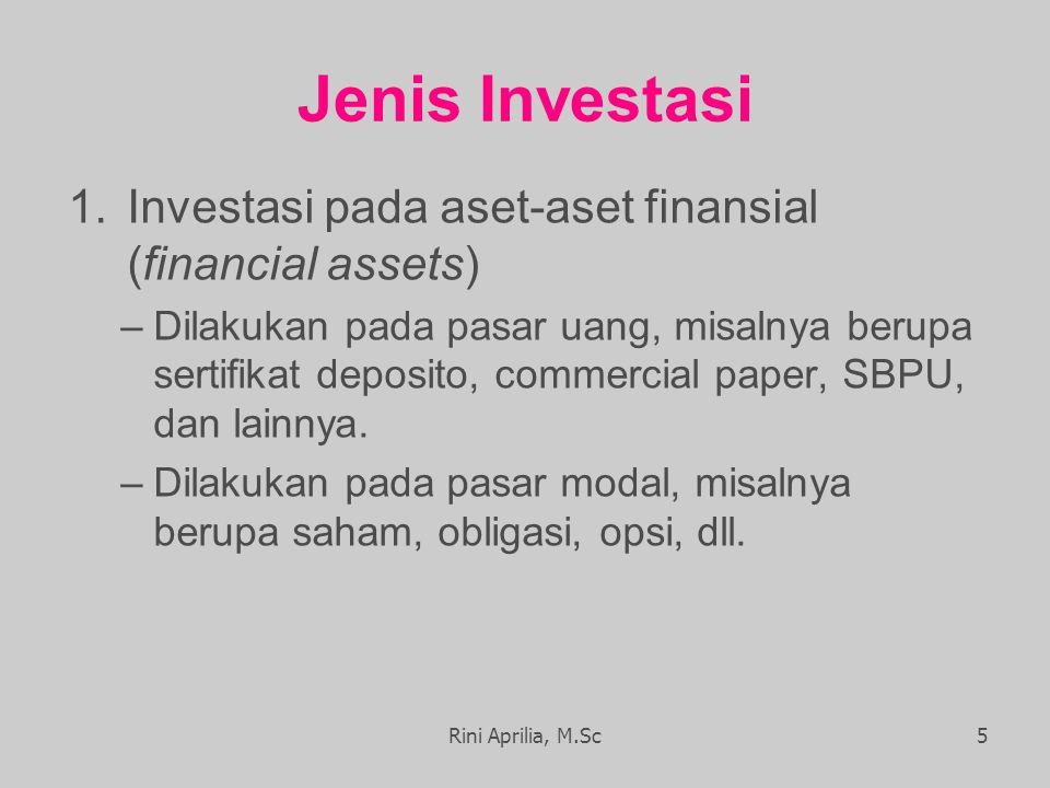 Jenis Investasi 1.Investasi pada aset-aset finansial (financial assets) –Dilakukan pada pasar uang, misalnya berupa sertifikat deposito, commercial paper, SBPU, dan lainnya.