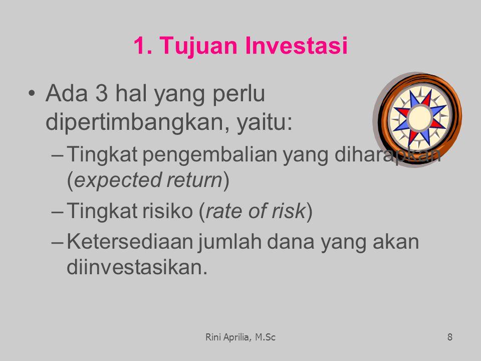 1. Tujuan Investasi Ada 3 hal yang perlu dipertimbangkan, yaitu: –Tingkat pengembalian yang diharapkan (expected return) –Tingkat risiko (rate of risk