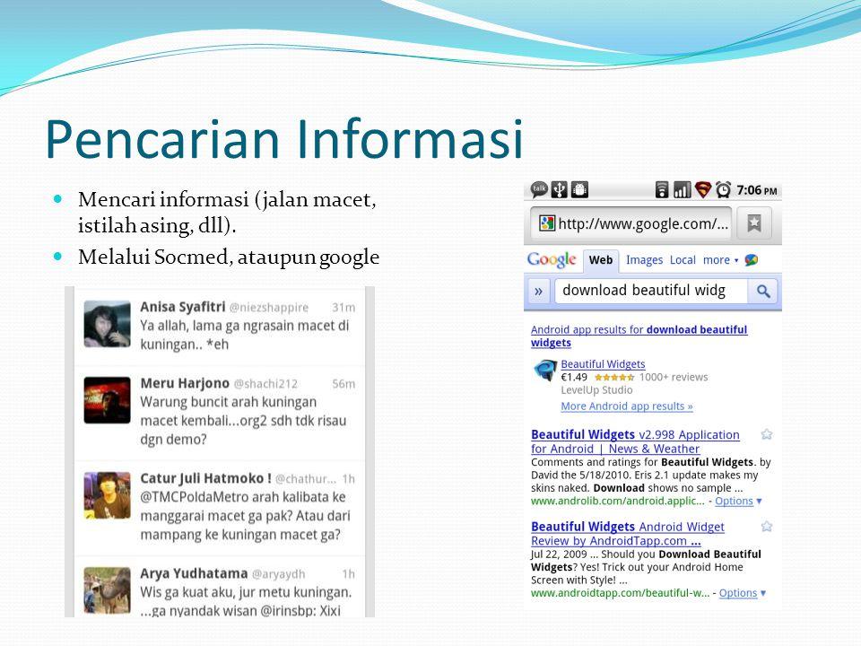 Pencarian Informasi Mencari informasi (jalan macet, istilah asing, dll). Melalui Socmed, ataupun google
