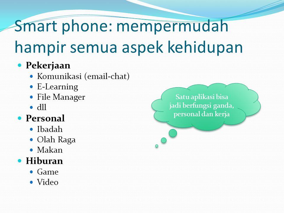 Smart phone: mempermudah hampir semua aspek kehidupan Pekerjaan Komunikasi (email-chat) E-Learning File Manager dll Personal Ibadah Olah Raga Makan Hiburan Game Video Satu aplikasi bisa jadi berfungsi ganda, personal dan kerja