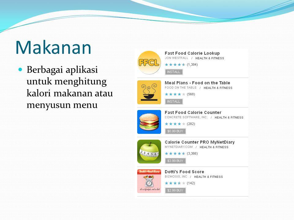 Makanan Berbagai aplikasi untuk menghitung kalori makanan atau menyusun menu