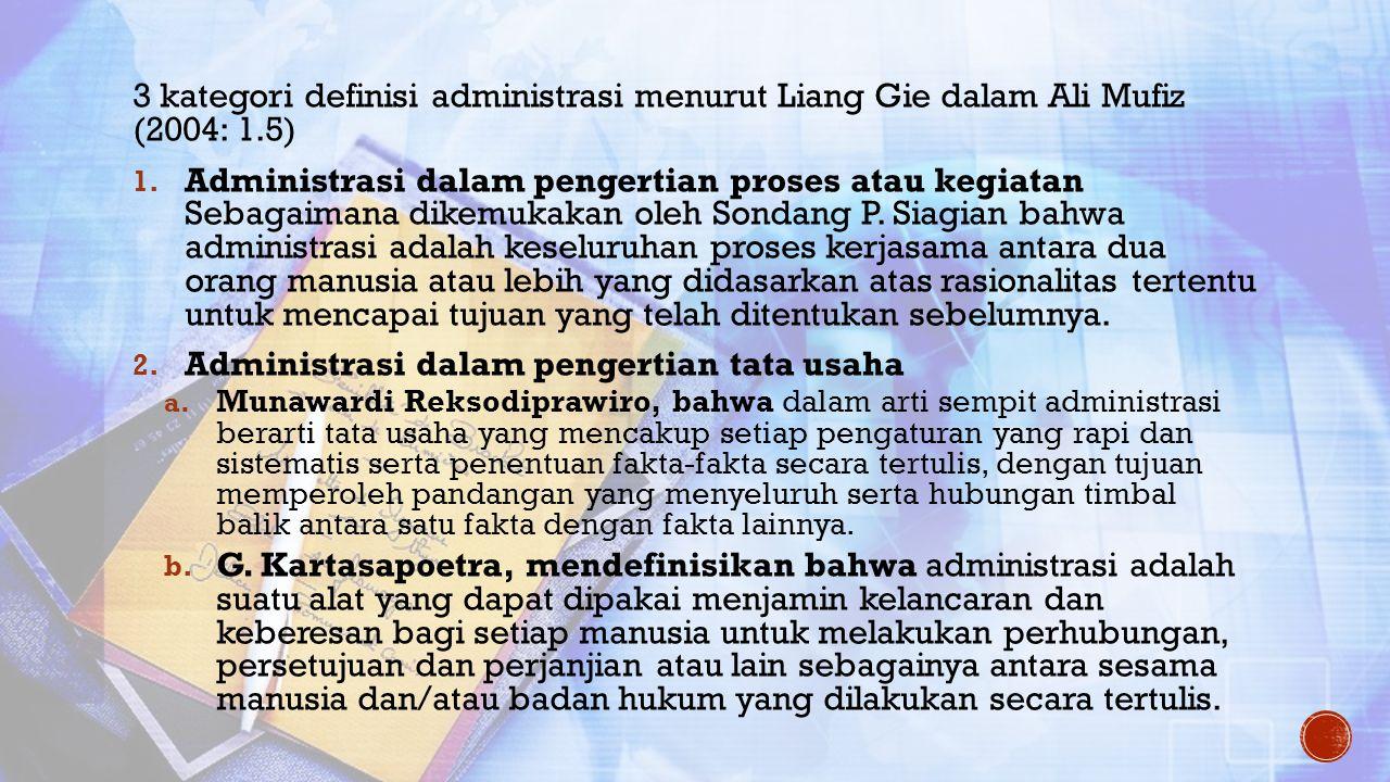 3 kategori definisi administrasi menurut Liang Gie dalam Ali Mufiz (2004: 1.5) 1. Administrasi dalam pengertian proses atau kegiatan Sebagaimana dikem