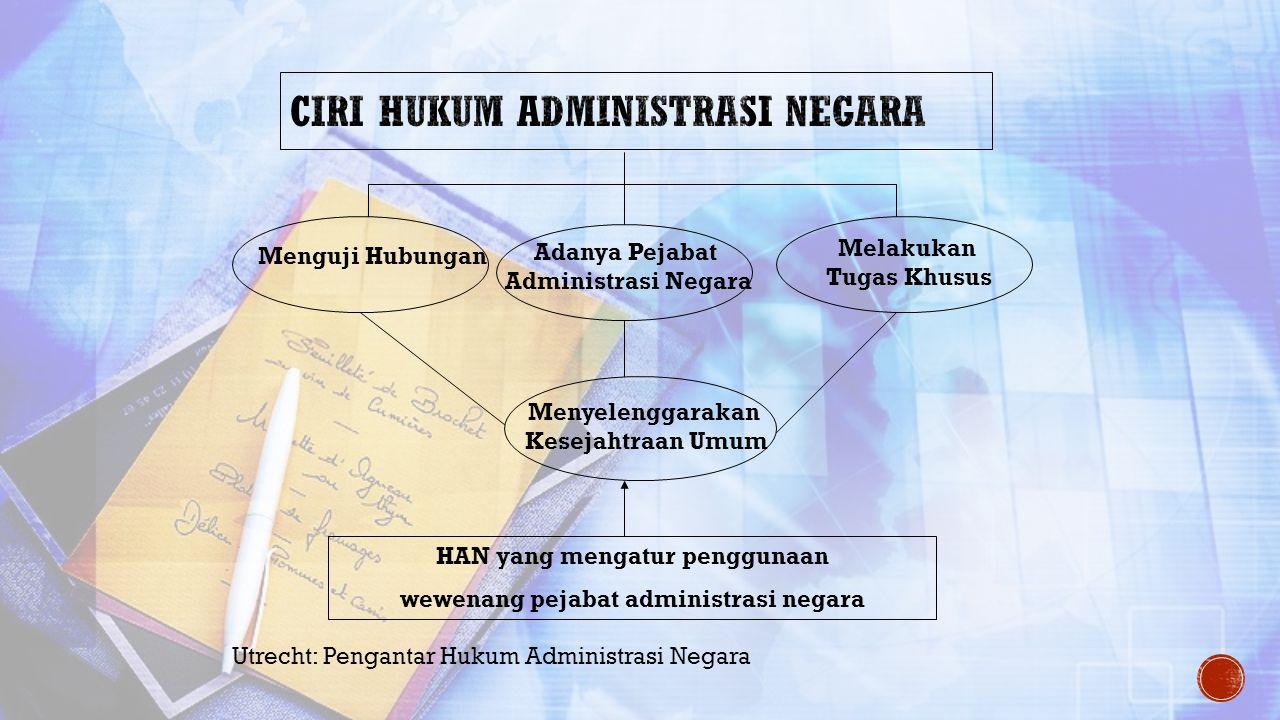 Menguji Hubungan Adanya Pejabat Administrasi Negara Melakukan Tugas Khusus Menyelenggarakan Kesejahtraan Umum HAN yang mengatur penggunaan wewenang pe
