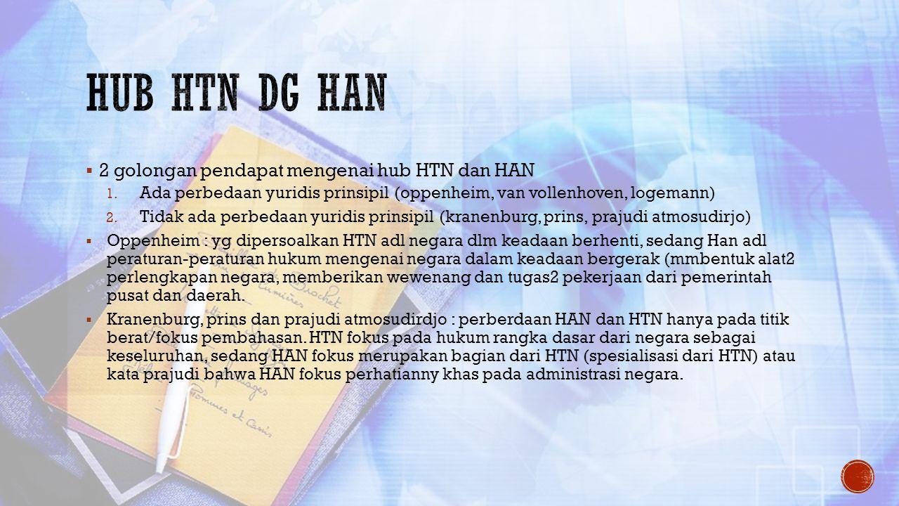  2 golongan pendapat mengenai hub HTN dan HAN 1. Ada perbedaan yuridis prinsipil (oppenheim, van vollenhoven, logemann) 2. Tidak ada perbedaan yuridi