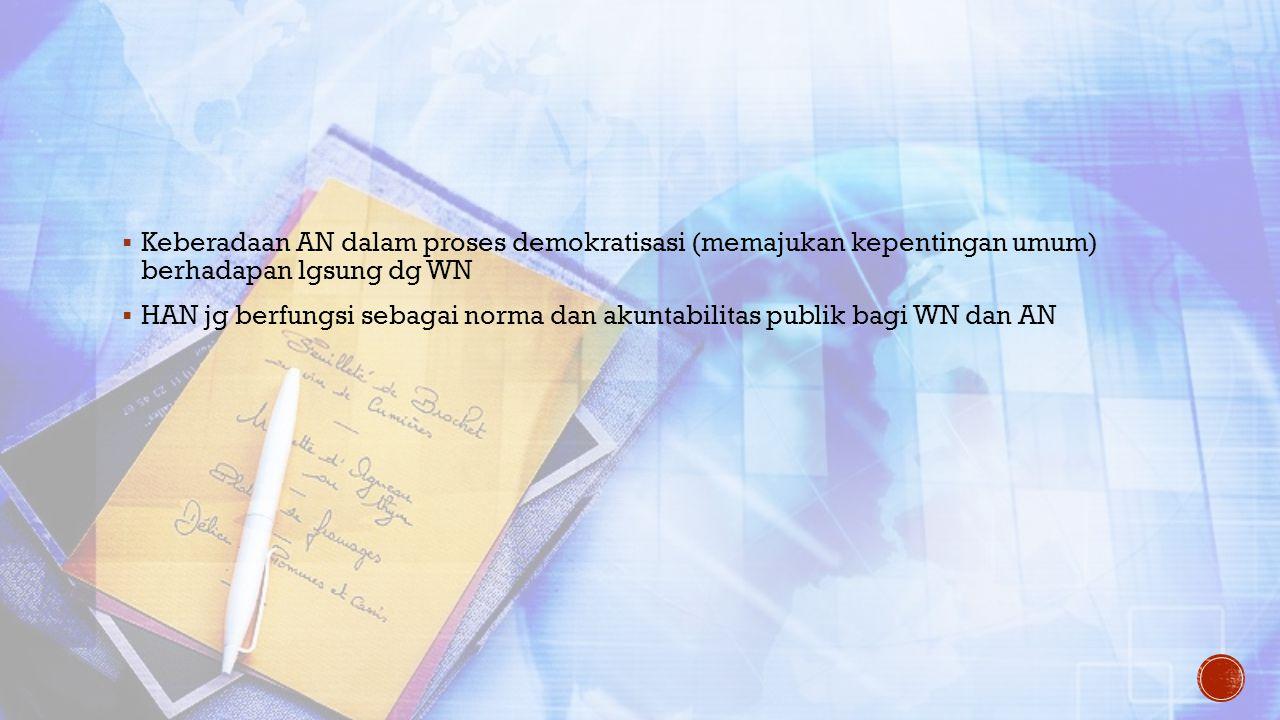  Keberadaan AN dalam proses demokratisasi (memajukan kepentingan umum) berhadapan lgsung dg WN  HAN jg berfungsi sebagai norma dan akuntabilitas pub