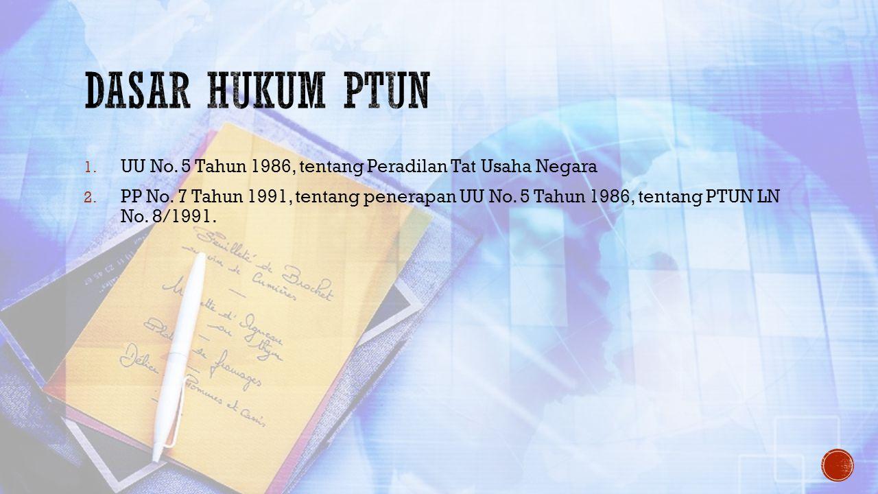 1. UU No. 5 Tahun 1986, tentang Peradilan Tat Usaha Negara 2. PP No. 7 Tahun 1991, tentang penerapan UU No. 5 Tahun 1986, tentang PTUN LN No. 8/1991.