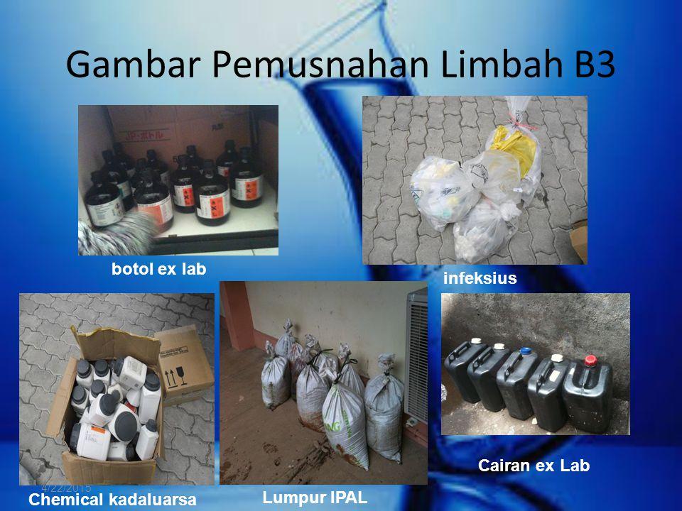 Gambar Pemusnahan Limbah B3 4/22/2015 botol ex lab infeksius Chemical kadaluarsa Lumpur IPAL Cairan ex Lab