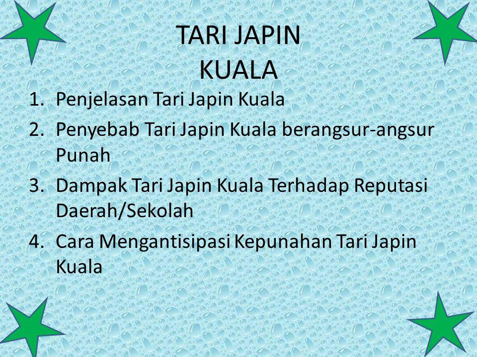 TARI JAPIN KUALA 1.Penjelasan Tari Japin Kuala 2.Penyebab Tari Japin Kuala berangsur-angsur Punah 3.Dampak Tari Japin Kuala Terhadap Reputasi Daerah/S