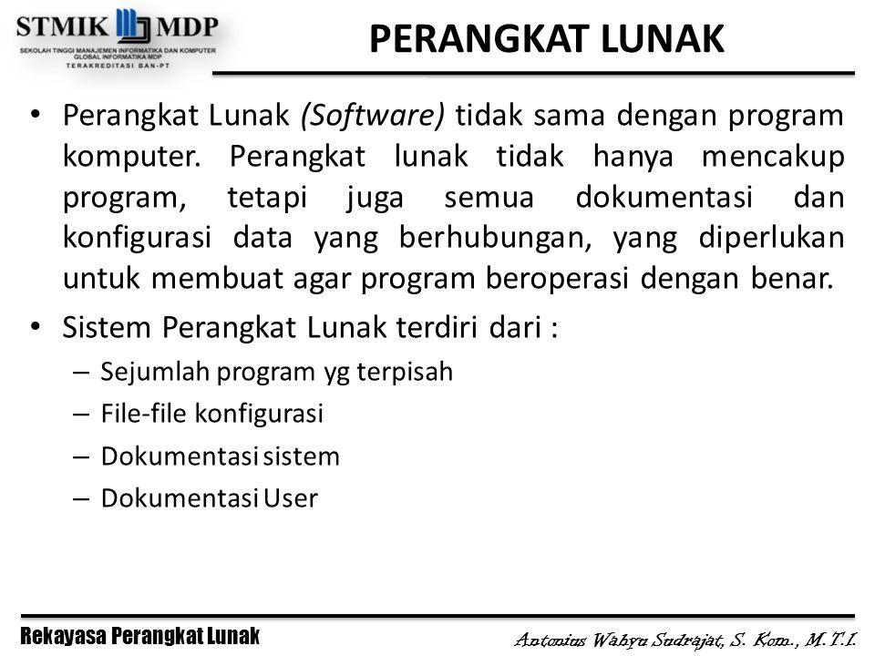 Rekayasa Perangkat Lunak Antonius Wahyu Sudrajat, S. Kom., M.T.I. PERANGKAT LUNAK Perangkat Lunak (Software) tidak sama dengan program komputer. Peran