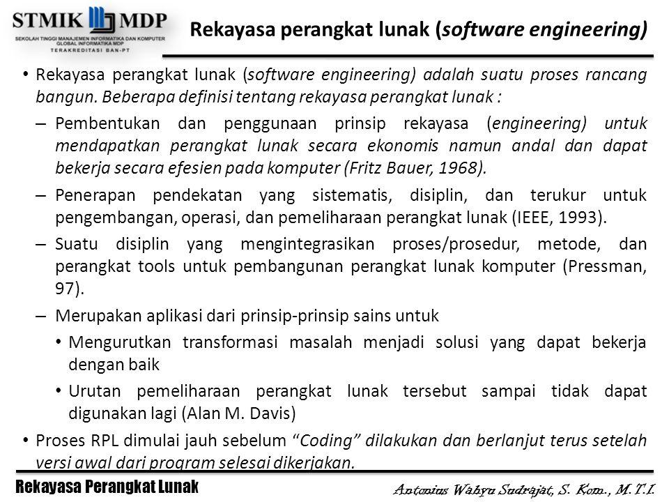 Rekayasa Perangkat Lunak Antonius Wahyu Sudrajat, S. Kom., M.T.I. Rekayasa perangkat lunak (software engineering) Rekayasa perangkat lunak (software e