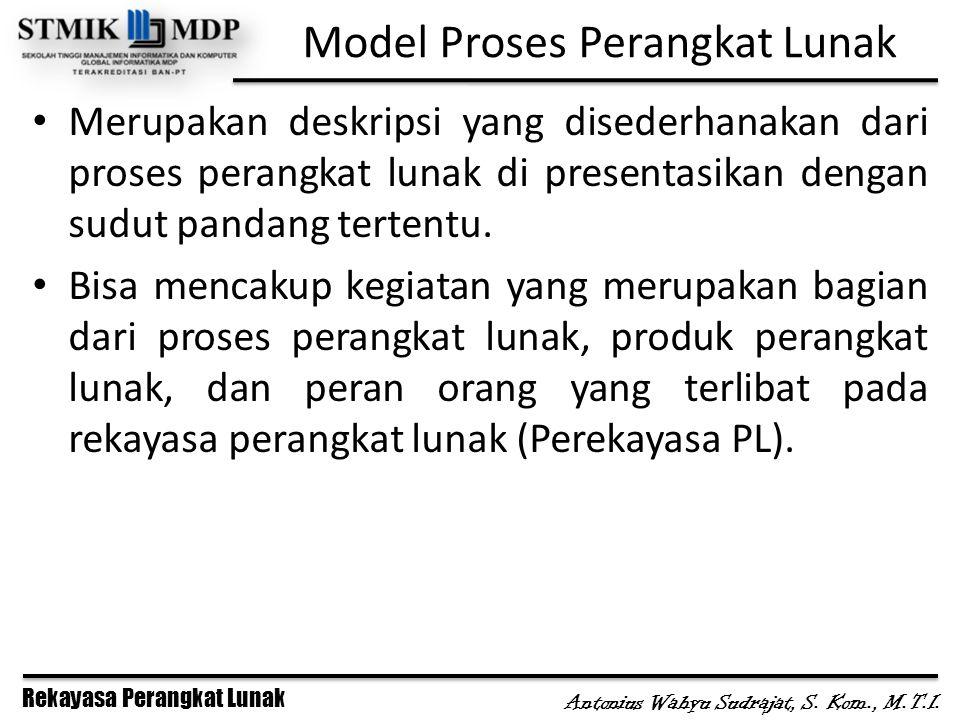 Rekayasa Perangkat Lunak Antonius Wahyu Sudrajat, S. Kom., M.T.I. Model Proses Perangkat Lunak Merupakan deskripsi yang disederhanakan dari proses per