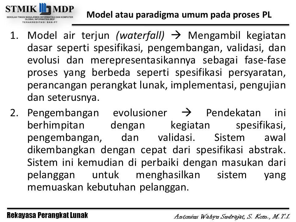 Rekayasa Perangkat Lunak Antonius Wahyu Sudrajat, S. Kom., M.T.I. Model atau paradigma umum pada proses PL 1.Model air terjun (waterfall)  Mengambil