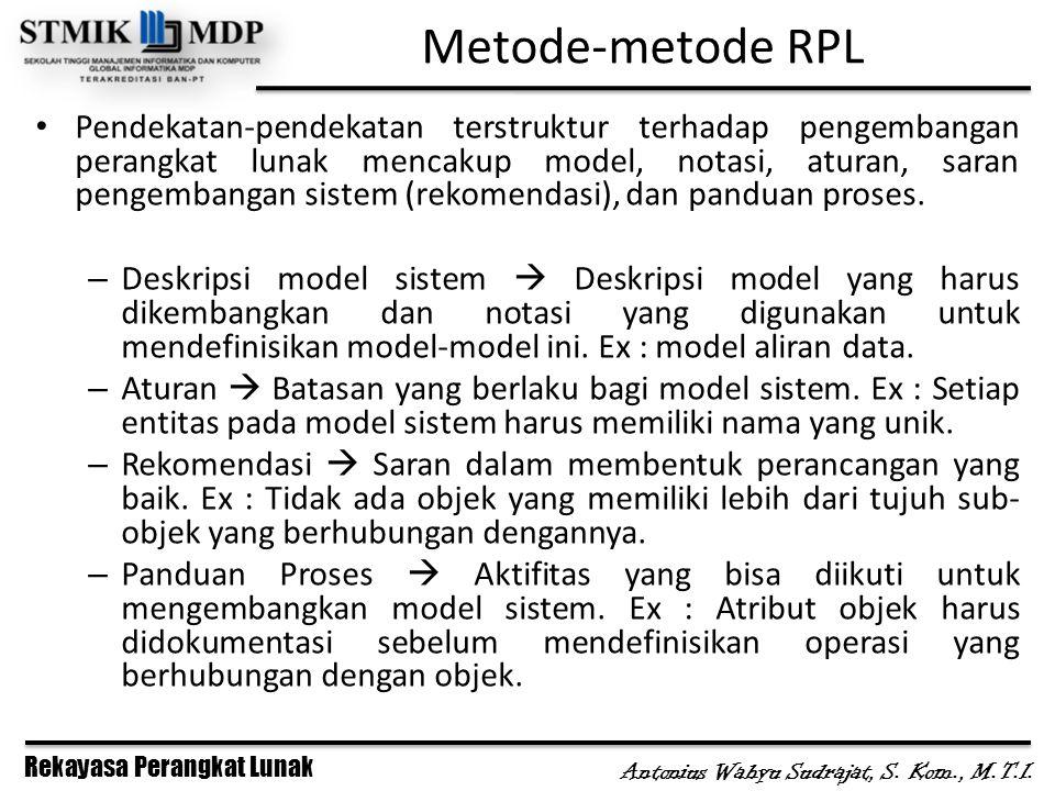Rekayasa Perangkat Lunak Antonius Wahyu Sudrajat, S. Kom., M.T.I. Metode-metode RPL Pendekatan-pendekatan terstruktur terhadap pengembangan perangkat