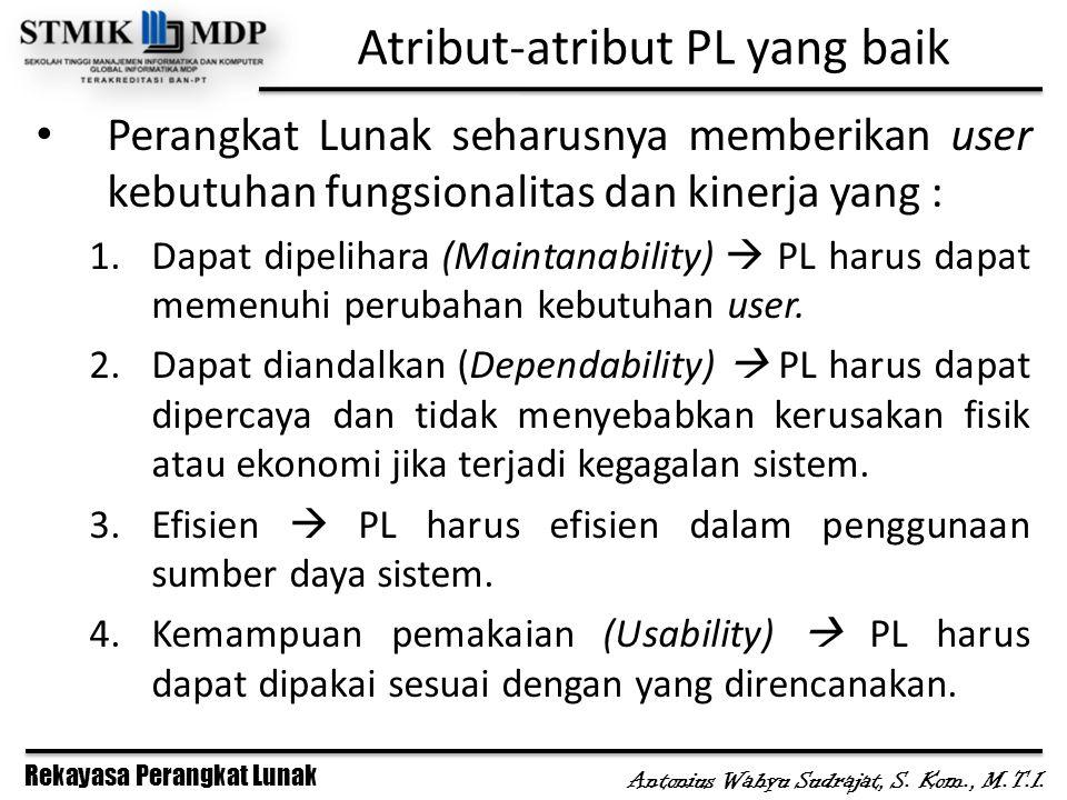 Rekayasa Perangkat Lunak Antonius Wahyu Sudrajat, S. Kom., M.T.I. Atribut-atribut PL yang baik Perangkat Lunak seharusnya memberikan user kebutuhan fu